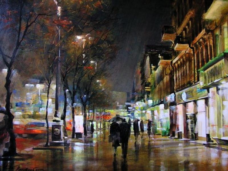 Виталий Петровский Городской пейзаж Киев осень дождь Крещатик