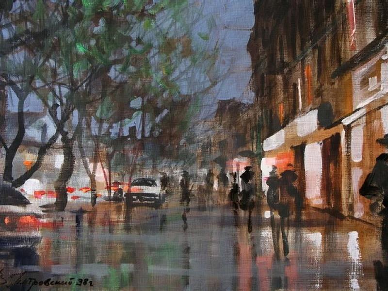 Виталий Петровский Городской пейзаж Киев осень дождь