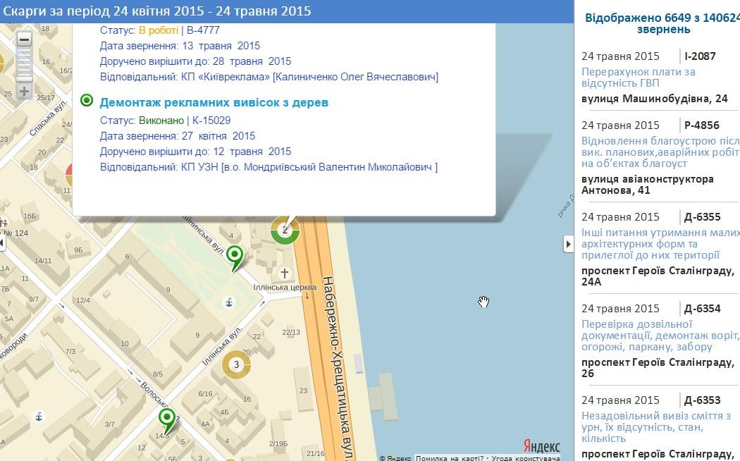 Интерактивная карта обращений контактного центра Киева 1551